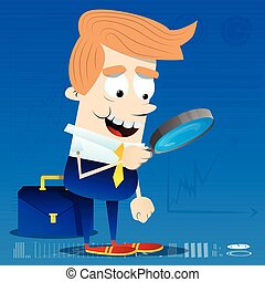 Businessman looking for investment opportunity with a magnifying glass.