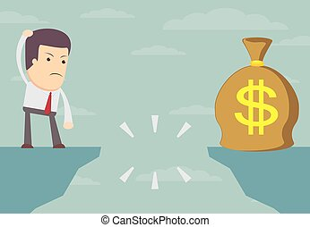Businessman looking for money bag. - Businessman standing on...