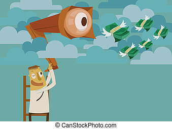 Businessman looking for money on the sky Illustrator