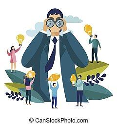 Businessman looking for money through binocular. Business in flat style. Cartoon vector illustration