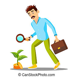 Businessman Looking For Money With Magnifier On The Floor, Investment Search Vector. Isolated Illustration