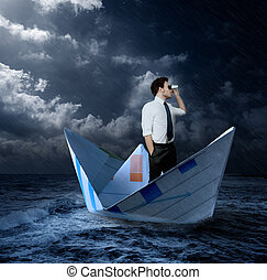Businessman looking for opportunities - Businessman looking...