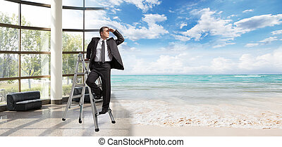 Businessman looking for vacation.