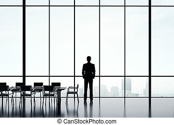 businessman looking in city