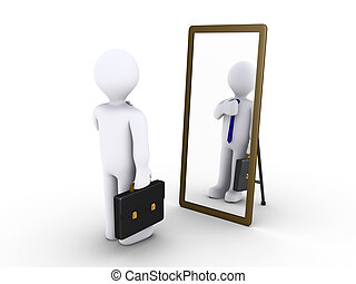 3d businessman looking in a mirror to become presentable