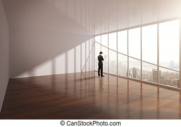 businessman looking on city