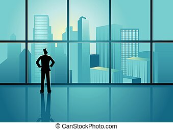 Businessman looking on cityscape through the window