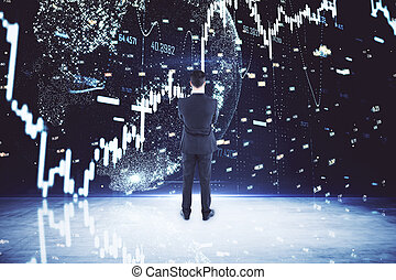 Businessman looking on glowing forex charts