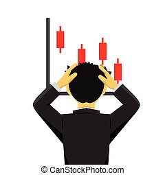 businessman looking shocked at a dropping diagram
