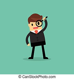 Businessman looking through a magnifying glass. business concept.