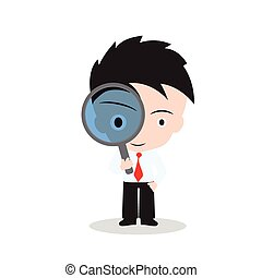 Businessman looking through a magnifying glass for searching on white background, vector illustration in flat design