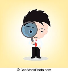 Businessman looking through a magnifying glass for searching, vector illustration in flat design