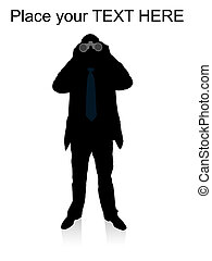 businessman looking through binocular on an isolated ...