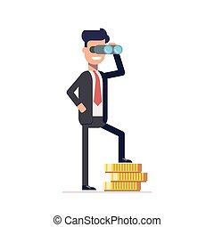 Businessman looking through binoculars, and is on the money. Happy man in a business suit thinking about investments.   looks into the future. Vector illustration in  flat style.