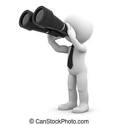 Businessman looking through binoculars. Search concept.