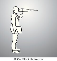 Businessman looking through binoculars with wrong side vector illustration doodle sketch hand drawn with black lines isolated on gray background. Business concept.