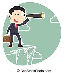 businessman looking through monocular on cliff