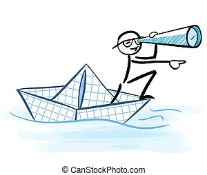 Businessman looking through telescope on a paper boat