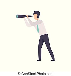 Businessman looking through the spyglass, successful business character at work vector Illustration on a white background