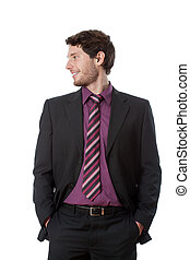 Businessman looking to the right