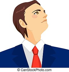 Businessman Looking Up Horizon - Brown haired young...