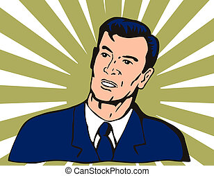 Businessman Looking Up - Illustration of businessman looking...