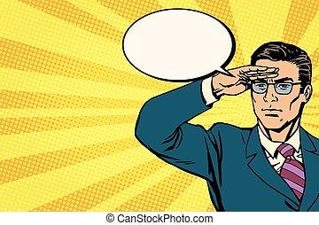 businessman lookout concept business pop art retro vector....