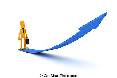 Businessman looks at the arrow - conceptual image. 3d image...