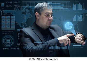 Businessman looks at the virtual projection of the diagram