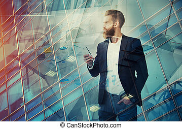 Businessman looks far for the future. Concept of innovation and startup