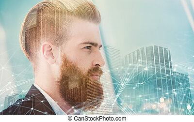Businessman looks far for the future. Concept of innovation and startup. double exposure