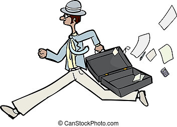 Businessman Losing Papers - Running businessman with open...