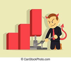 Businessman lying. Vector flat illustration