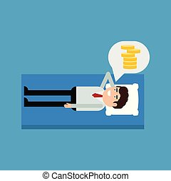 Businessman lying on a bed thinking about money