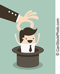 Magic hat employee, Human resources officer choose employee.