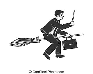 businessman magician flies on a broomstick sketch engraving vector illustration. T-shirt apparel print design. Scratch board imitation. Black and white hand drawn image.