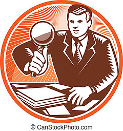 Illustration of a businessman facing front holding magnifying glass lens inspecting looking at pile of paper documents done in retro woodcut style set inside circle.
