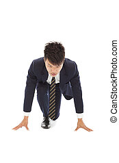 businessman make a running pose