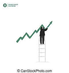 Businessman make indicator arrow of growth on ladder on white background illustration vector. Business concept