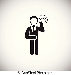 Businessman making a call on white background