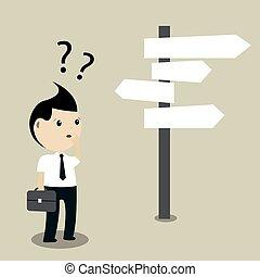 Businessman Making A Choice, Vector illustration