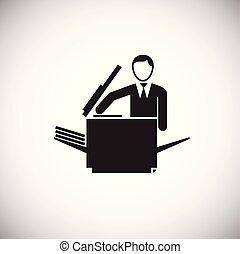 Businessman making a copy on white background