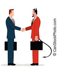 Businessman making a deal with the devil - Simple flat...