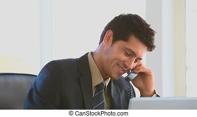 Businessman making a phone call at a desk