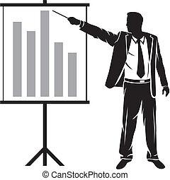 businessman making a presentation (businessman showing...