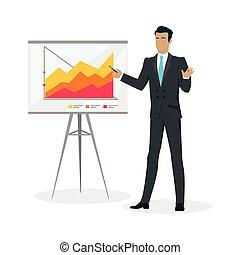 Businessman Making a Presentation Near Whiteboard