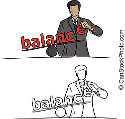 businessman making balance vector illustration sketch doodle hand drawn with black lines isolated on white background