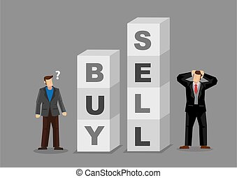 Businessman Making Buy Sell Decisions Cartoon Vector ...