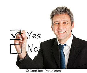 Businessman making decision