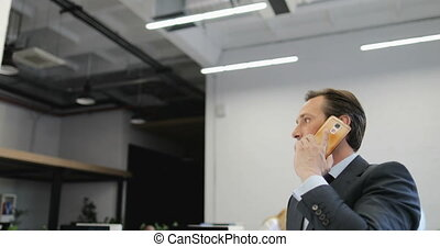 Businessman Making Decisions During Phone Call In Modern ...